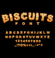 biscuits font cookies with chocolate drops vector image vector image