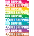 colorful free shipping tag vector image vector image