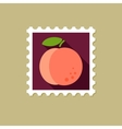Peach flat stamp with long shadow vector image