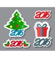Abstract Christmas and New Year Sticker Set vector image