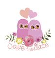 Save the date design with two owls vector image