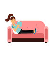young woman sitting on a pink sofa and reading a vector image