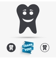 Tooth happy face sign icon Healthy tooth vector image