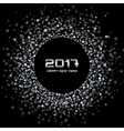 White confetti circle New Year 2017 background vector image