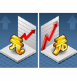 isometric yuan renminbi with red arrow up exchange vector image vector image
