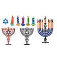 hanukkah background with menorah and david vector image