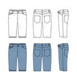 set of male jeans shorts vector image