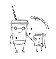 sketch of cappuccino and milk vector image