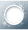 Winter abstract background with 3d snowflakes vector image