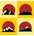 Mountain flat icons with red sun on yellow vector image