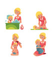 mother washing baby in bath putting diaper on vector image