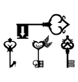 Set of black key silhouettes vector image