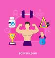 bodybuilding flat composition vector image