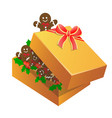 christmas gingerbread man in a box vector image