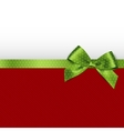 Holiday background with green bow vector image
