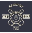Two bottles of beer Vintage emblem vector image