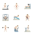 Types of exercises in gym icons set cartoon style vector image
