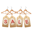 Four wooden hangers with price tags forming the vector image