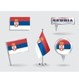 Set of Serbian pin icon and map pointer flags vector image
