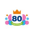 80th anniversary colored logo design happy vector image
