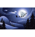 Flying Santa and Winter Forest2 vector image