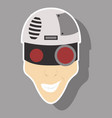friendly robot character with sticker cartoon vector image