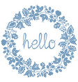 hello pastel laurel wreath blue frame isolated vector image
