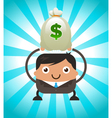 Business Man Holding Bag of Money vector image vector image