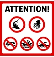 Prohibition swimming sign vector image