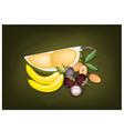 Mangosteens Banana Durian and Sapodilla vector image