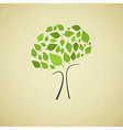 Abstract Green Tree on Recycled Paper Background vector image