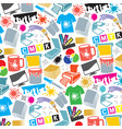background pattern with printing icons vector image