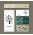 Business cards collection with school sketch for vector image