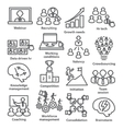 Business management icons in line style Pack 30 vector image