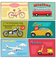 Comic Transport Mini Posters Set vector image