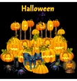 Cute kittens and a set of carved pumpkins vector image
