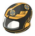 helmet motorcycle orange icon isometric 3d style vector image