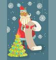 santa reading a long christmas wish list vector image