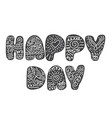 text happy day on in scandinavian folk style hand vector image