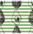 striped seamless pattern with avocado vector image vector image