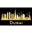 Dubai City skyline with golden skyscrapers vector image