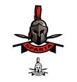battle helmet and spears vector image