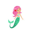 cartoon mermaid character with pink hair and shiny vector image