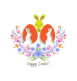 easter greeting card with easter rabbit with vector image