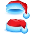 Set red Christmas hat with blue trim vector image