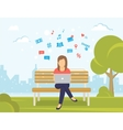 Young woman sitting in the park on the bench and vector image