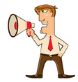 Businessman with loudspeaker vector image vector image