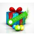 Gift box with Christmas ball toys vector image