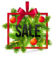 Black winter sale sign with red ribbon green fir vector image vector image