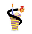birthday piece of cake and candle hand give gift vector image